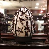 Famous 100lb chocolate egg with two 40lb chocolate bunnies