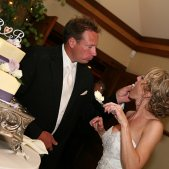 Bride & Groom Cutting Cake