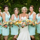 Bride with Brides Maids in Sky Blue: Photo Credit: Beau Peterson Photography