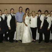 Bride with Wait Staff: Photo Credit: Jeff Wegge