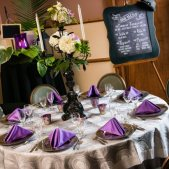 Purple & Grey Table Setting